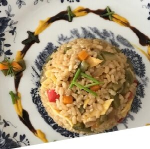 arroz integral con toque oriental